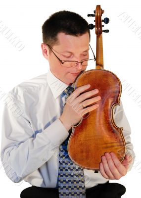 man with a age-old  violin