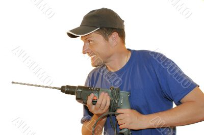 portrait of worker with perforator
