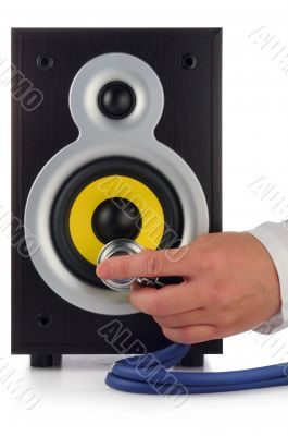 loud speaker and hand