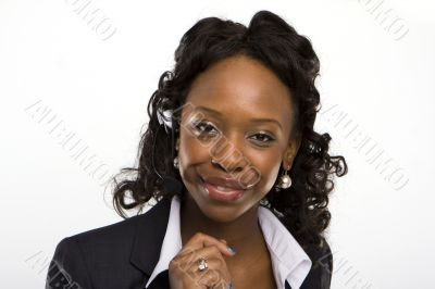 solated studio shot of a smiling businesswoman