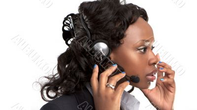 businesswoman talking on a customer service line