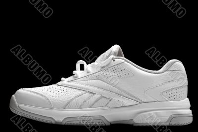 Sport shoes on black close up