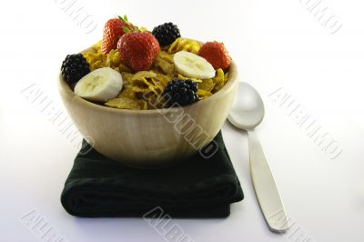 Cornflakes and Fruit with Napkin and Spoon