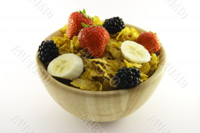 Cornflakes and Fruit in a Wooden Bowl