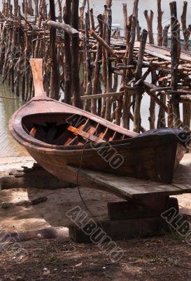Old Wood Pier with Boat; Phang Nga Bay