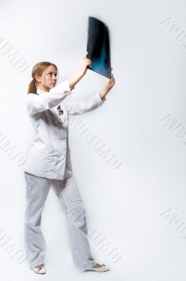 young doctor with x-ray picture isolated