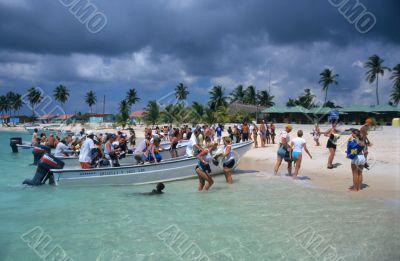Tourists landing - Saona island beach Dominican republic