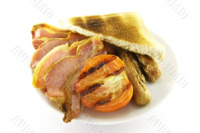 Breakfast and Toast on a White Plate