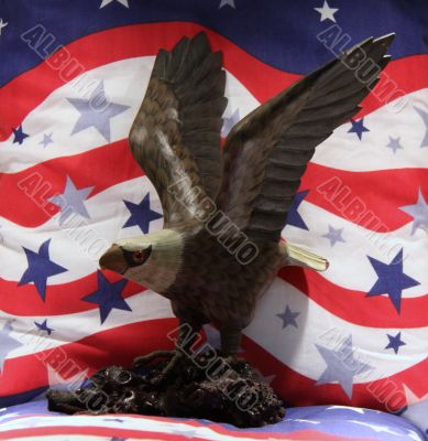 Wood American Bald eagle with patriotic background