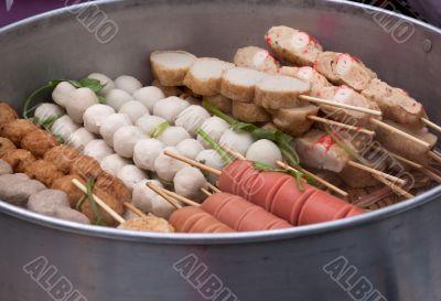 Different meat skewers stewed