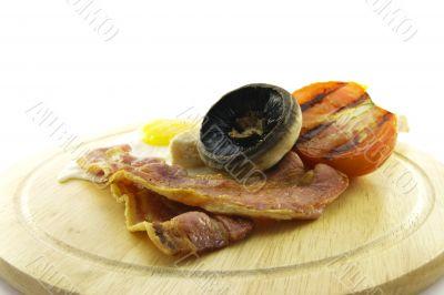 Breakfast on a Wooden Plate
