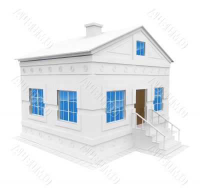 white house with blue windows