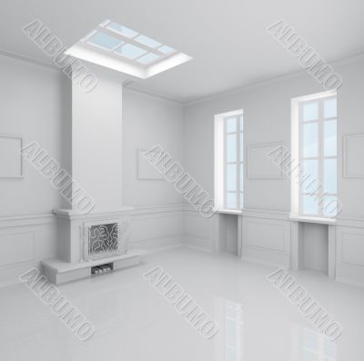 large hall with fireplace in the new house