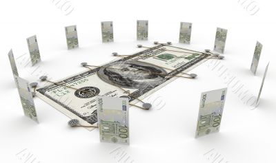 euro currency against dollar money concept
