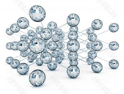 crystalline molecular grate made of disco balls