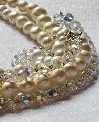 pearls and crystal jewelery