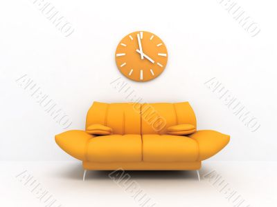 Orange sofa and clock