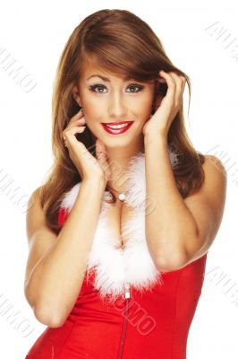 picture of cheerful santa helper girl