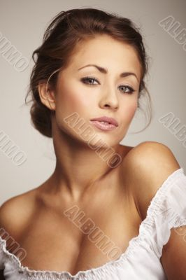 Closeup portrait of a attractive young woman relaxing
