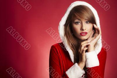 beautiful woman wearing fur hood