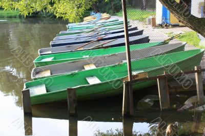 wooden boats are at moorage on a lake