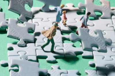 Stormy jigsaw with persons