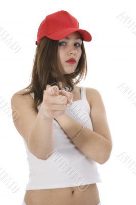 emotional girl in red cap