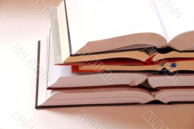 Opened books stack