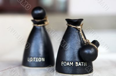 Bottle with bath gel and body lotion
