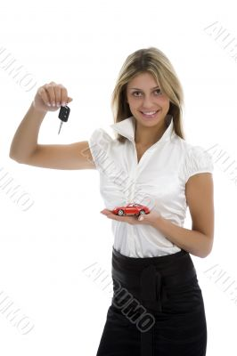 Business woman advertises selling the cars