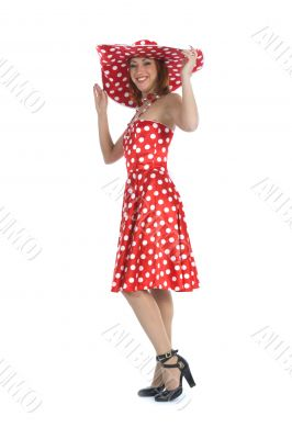 portrait redheaded with spotted dress