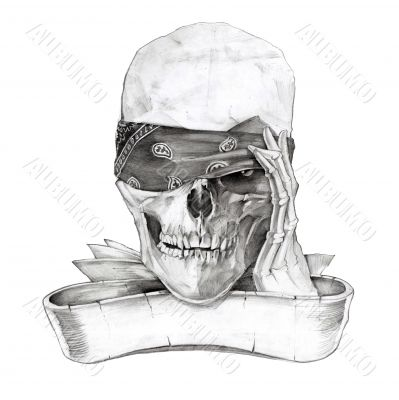 Black and white skull holding bandana