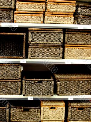 Straw wattled boxes, story shelvings