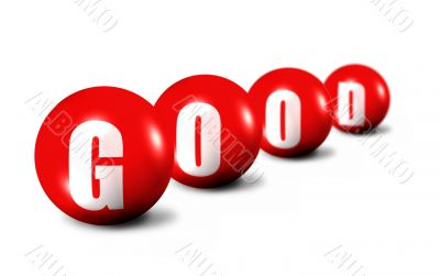 Good word made of 3D spheres on white