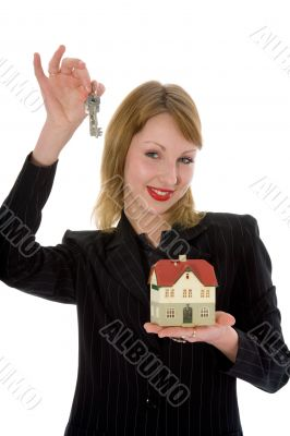 Business woman advertises real estate