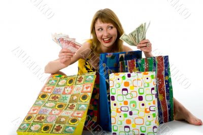 expressive woman shopping