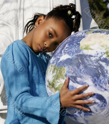 African-American Girl Holding the Earth