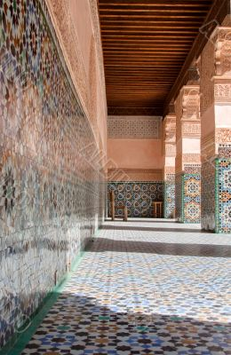 architectural details of Courtyard of Ali Ben Youssef Madrasa