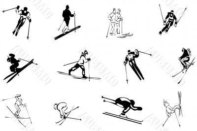 drawing ski sports winter