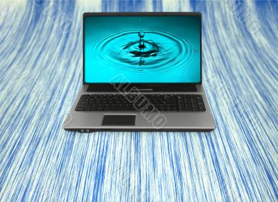Notebook with water splash wallpaper