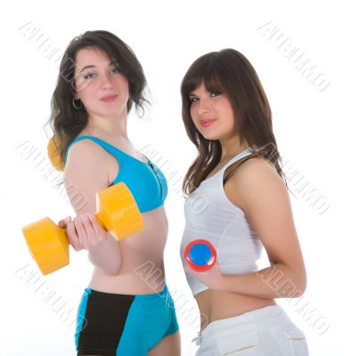 Girls practicing fitness