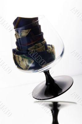 Cognac glass and tie inside