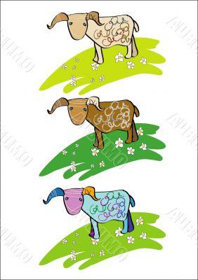 Lamb, ram, sheep, horned, blue-eyed