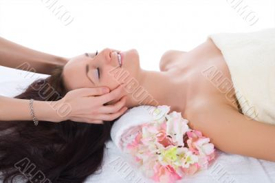 Attractive woman getting spa treatment