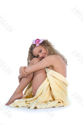 Beautiful girl with bathrobe