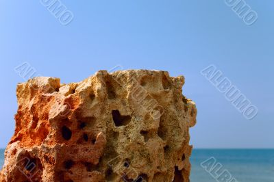 Limestone on the sea background