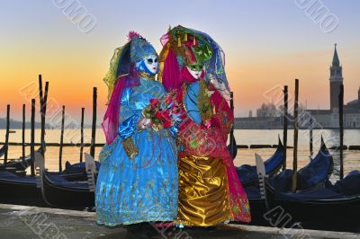 Venice Carnival masks in beautiful creative costumes