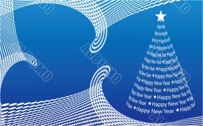 Abstract Christmas tree on the blue background. Vector illustrat