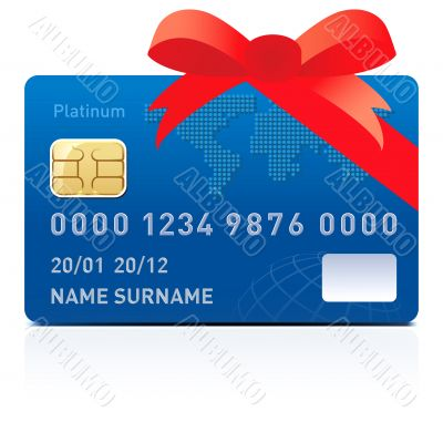 Realistic credit card isolated on white background
