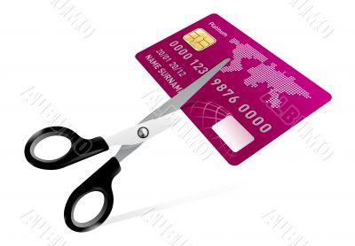scissors cutting credit card illustration